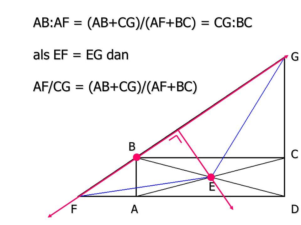 A B E D C F G AB:AF = (AB+CG)/(AF+BC) = CG:BC als EF = EG dan AF/CG = (AB+CG)/(AF+BC)