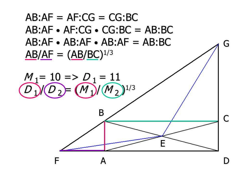 A B E D C F G AB:AF = AF:CG = CG:BC AB:AF AF:CG CG:BC = AB:BC AB:AF AB:AF AB:AF = AB:BC AB/AF = (AB/BC) 1/3 M 1 = 10 => D 1 = 11 D 1 / D 2 = (M 1 / M