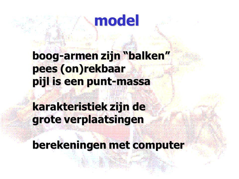 """model boog-armen zijn """"balken"""" pees (on)rekbaar pijl is een punt-massa karakteristiek zijn de grote verplaatsingen berekeningen met computer"""