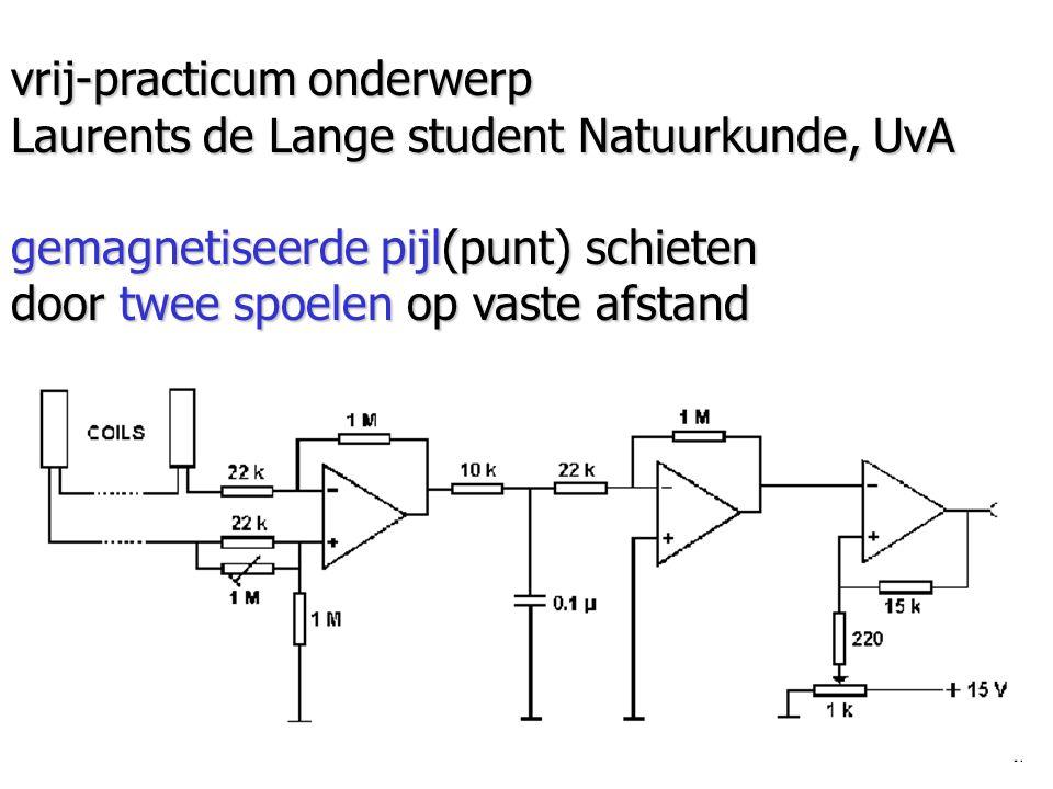 vrij-practicum onderwerp Laurents de Lange student Natuurkunde, UvA gemagnetiseerde pijl(punt) schieten door twee spoelen op vaste afstand