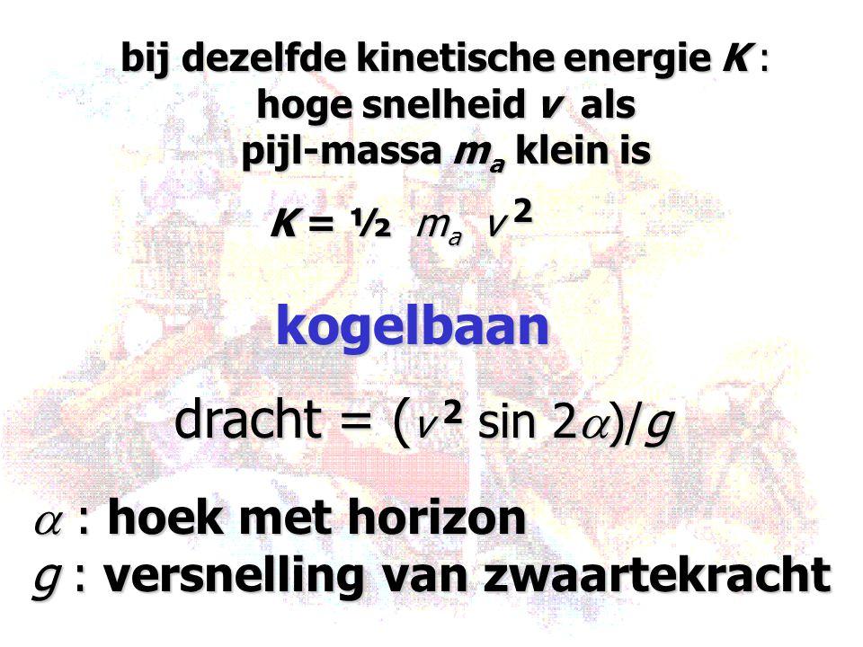 bij dezelfde kinetische energie K : hoge snelheid v als pijl-massa m a klein is K = ½ m a v 2 kogelbaan dracht = ( v 2 sin 2  )/g  : hoek met horizo