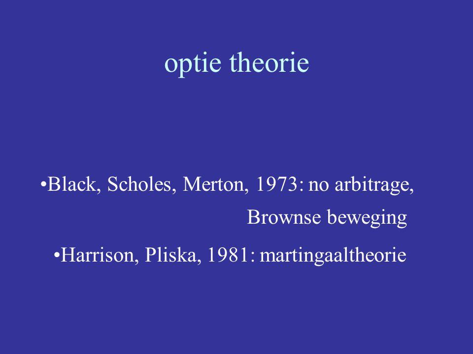 optie theorie Black, Scholes, Merton, 1973: no arbitrage, Brownse beweging Harrison, Pliska, 1981: martingaaltheorie