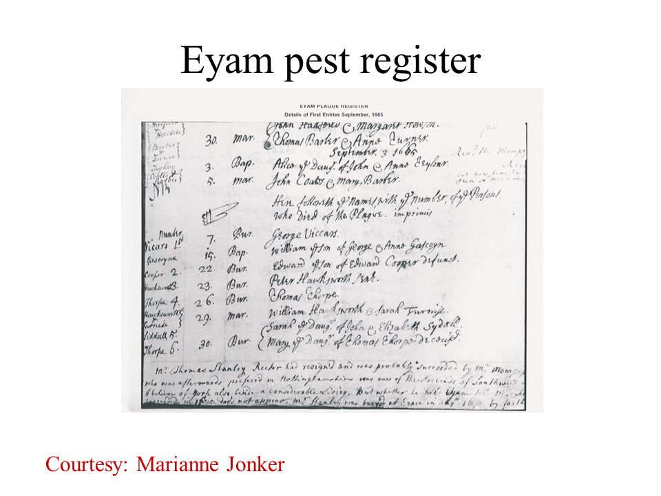 Eyam pest register Courtesy: Marianne Jonker