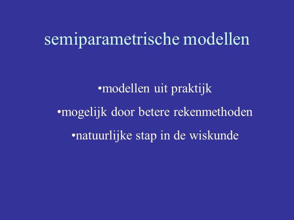 semiparametrische modellen modellen uit praktijk mogelijk door betere rekenmethoden natuurlijke stap in de wiskunde