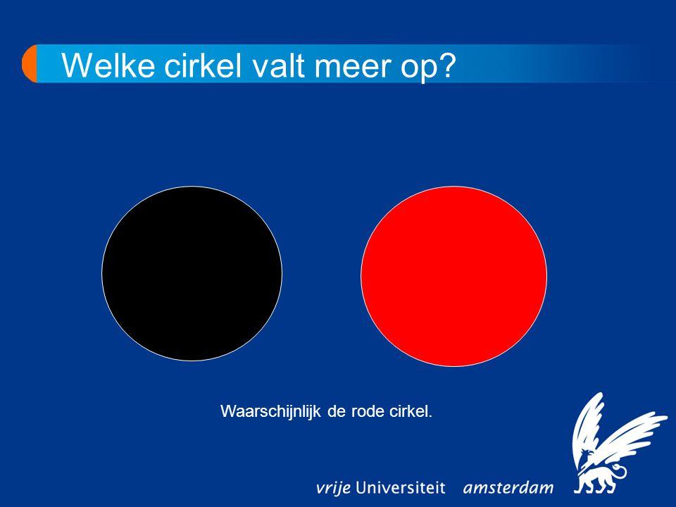 Waarschijnlijk de rode cirkel. Welke cirkel valt meer op?