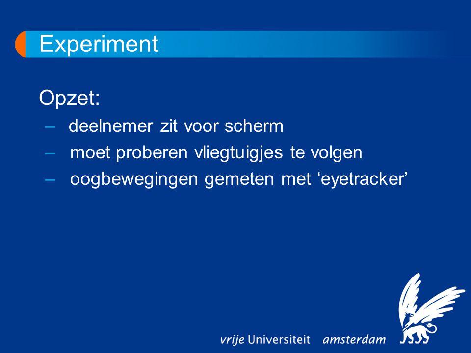 Experiment Opzet: –deelnemer zit voor scherm – moet proberen vliegtuigjes te volgen – oogbewegingen gemeten met 'eyetracker'