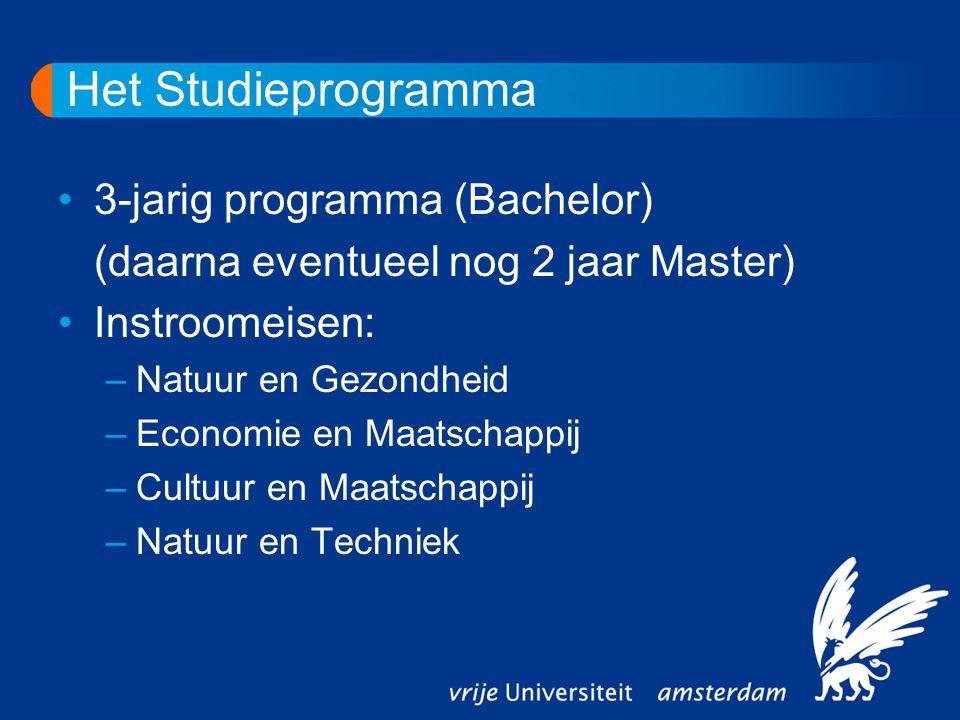 Het Studieprogramma 3-jarig programma (Bachelor) (daarna eventueel nog 2 jaar Master) Instroomeisen: –Natuur en Gezondheid –Economie en Maatschappij –
