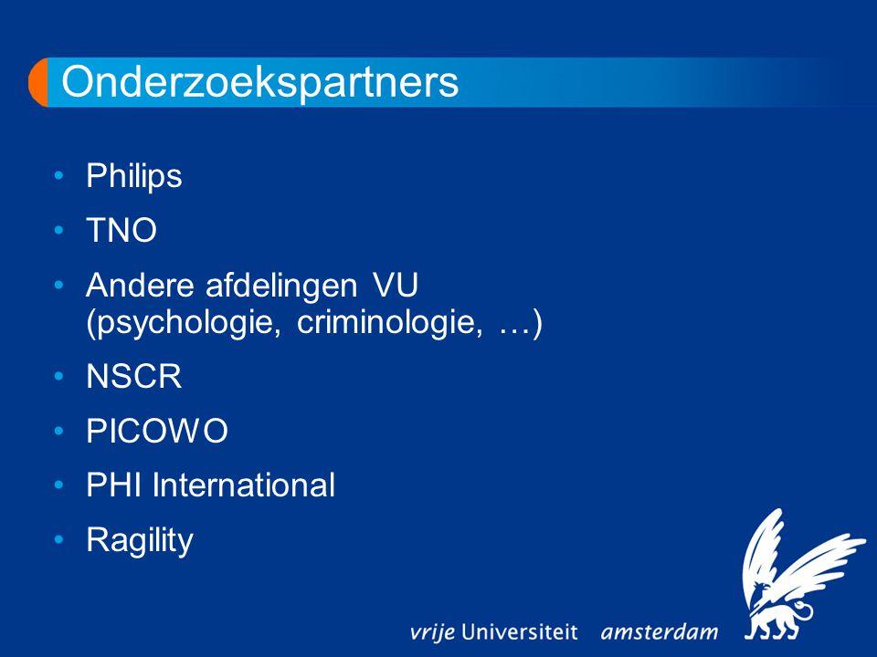 Onderzoekspartners Philips TNO Andere afdelingen VU (psychologie, criminologie, …) NSCR PICOWO PHI International Ragility