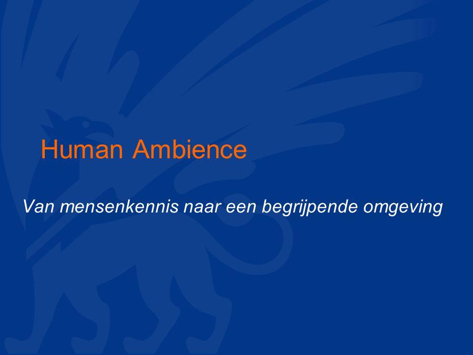 Human Ambience Van mensenkennis naar een begrijpende omgeving