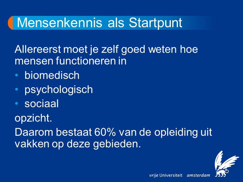 Mensenkennis als Startpunt Allereerst moet je zelf goed weten hoe mensen functioneren in biomedisch psychologisch sociaal opzicht. Daarom bestaat 60%