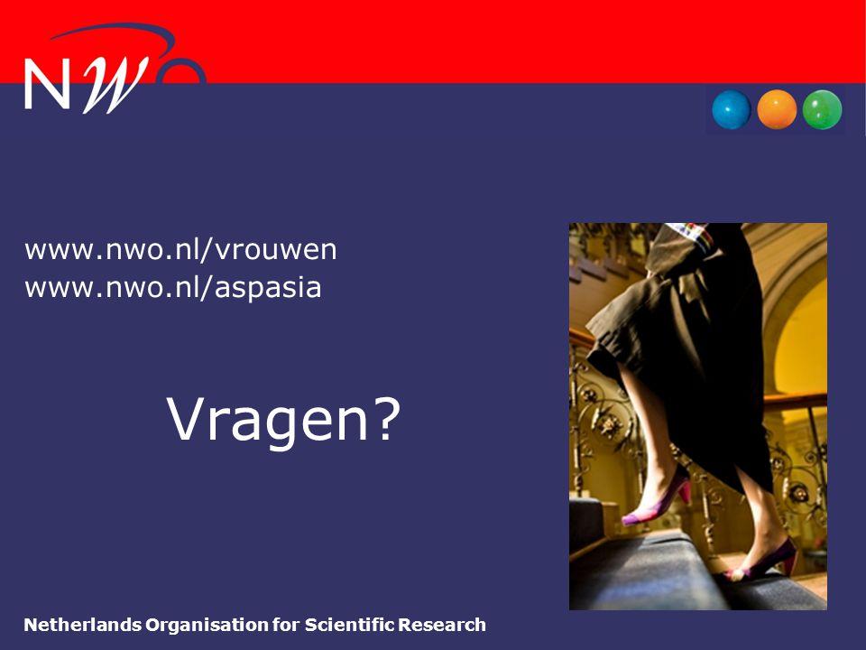 Netherlands Organisation for Scientific Research www.nwo.nl/vrouwen www.nwo.nl/aspasia Vragen?