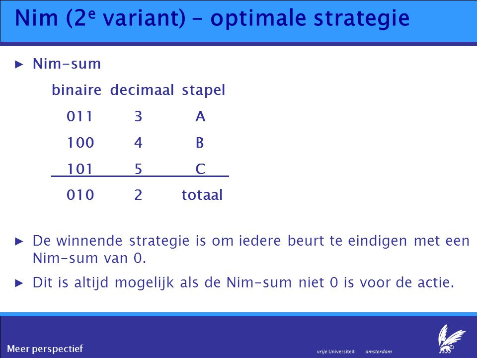 Meer perspectief Nim (2 e variant) – optimale strategie ▶Nim-sum binairedecimaalstapel 0113 A 100 4 B 1015 C 0102totaal ▶De winnende strategie is om i