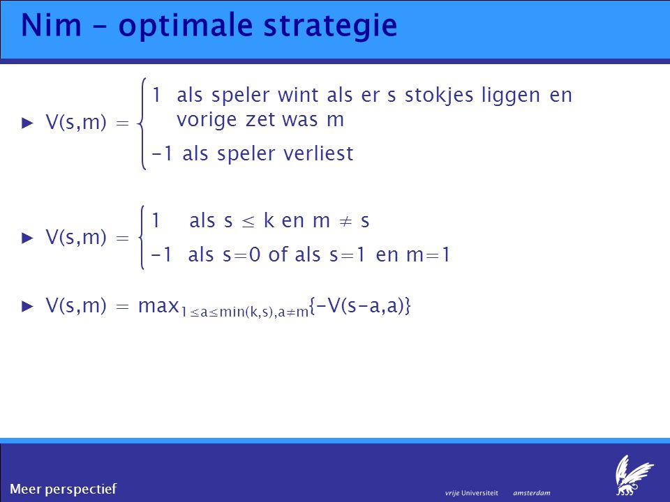 Meer perspectief Nim – optimale strategie ▶V(s,m) = 1als speler wint als er s stokjes liggen en vorige zet was m -1 als speler verliest ▶V(s,m) = 1 al