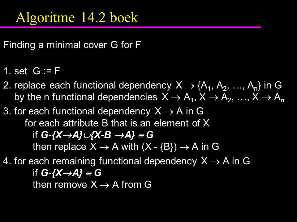 Algoritme 14.2 boek Finding a minimal cover G for F 1.set G := F 2.replace each functional dependency X  {A 1, A 2, …, A n } in G by the n functional