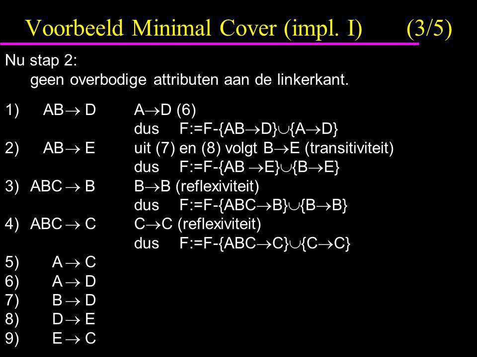 Voorbeeld Minimal Cover (impl. I)(3/5) Nu stap 2: geen overbodige attributen aan de linkerkant. 1) AB  DA  D (6) dusF:=F-{AB  D}  {A  D} 2) AB 