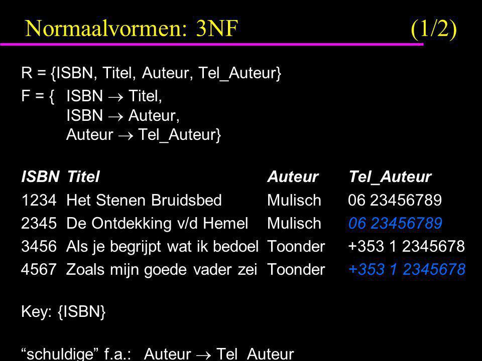 Normaalvormen: 3NF (1/2) R = {ISBN, Titel, Auteur, Tel_Auteur} F = {ISBN  Titel, ISBN  Auteur, Auteur  Tel_Auteur} ISBNTitelAuteurTel_Auteur 1234He