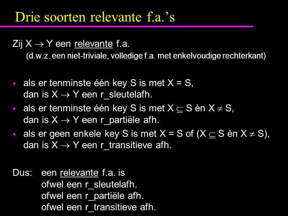 Drie soorten relevante f.a.'s Zij X  Y een relevante f.a. (d.w.z. een niet-triviale, volledige f.a. met enkelvoudige rechterkant)  als er tenminste