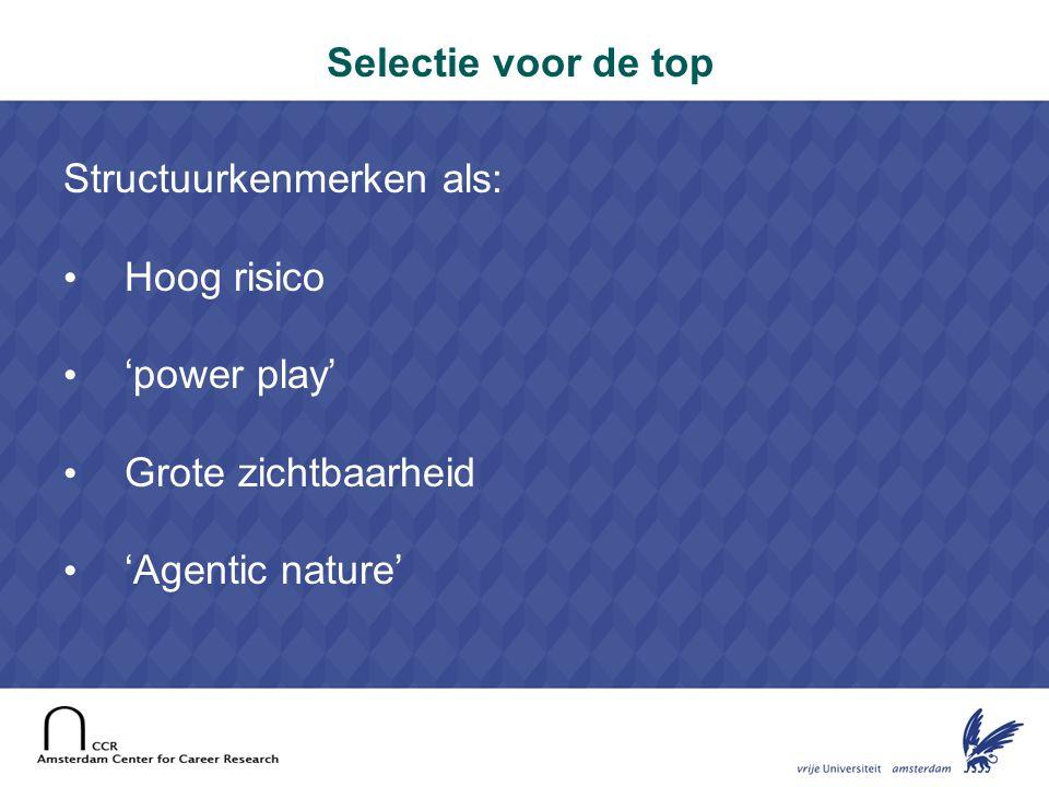 16 Selectie voor de top Structuurkenmerken als: Hoog risico 'power play' Grote zichtbaarheid 'Agentic nature'