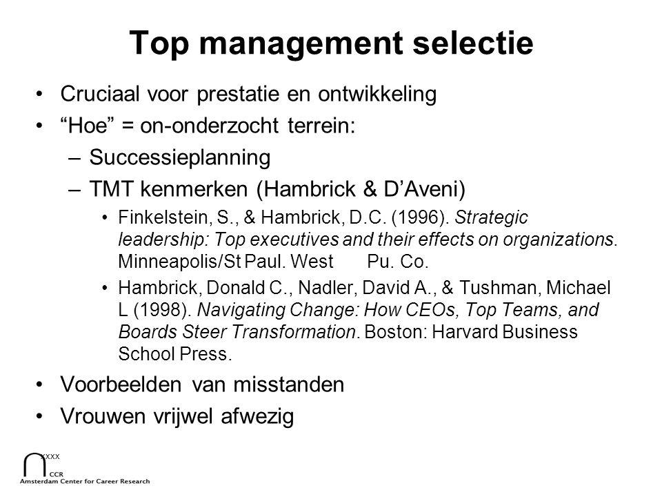 """xxxx Top management selectie Cruciaal voor prestatie en ontwikkeling """"Hoe"""" = on-onderzocht terrein: –Successieplanning –TMT kenmerken (Hambrick & D'Av"""
