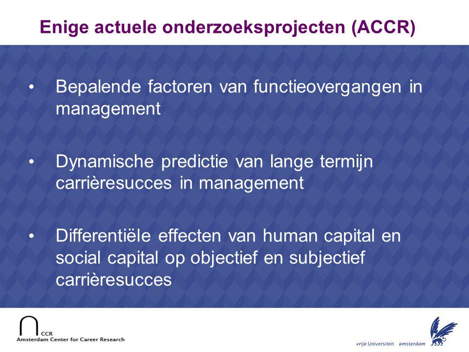 22 Enige actuele onderzoeksprojecten (ACCR) Bepalende factoren van functieovergangen in management Dynamische predictie van lange termijn carrièresucc