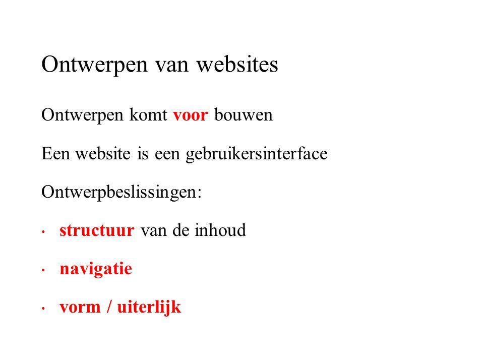 Ontwerpen van websites Ontwerpen komt voor bouwen Een website is een gebruikersinterface Ontwerpbeslissingen: structuur van de inhoud navigatie vorm /