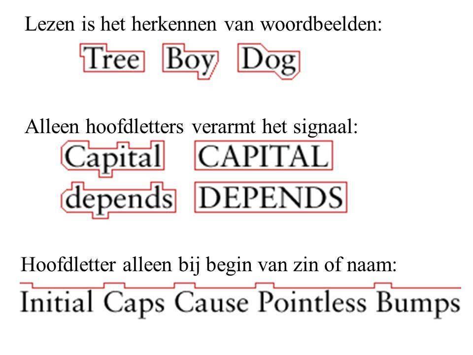 Lezen is het herkennen van woordbeelden: Alleen hoofdletters verarmt het signaal: Hoofdletter alleen bij begin van zin of naam: