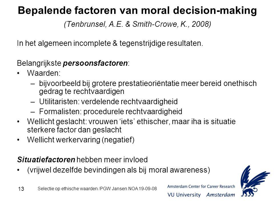 Selectie op ethische waarden /PGW Jansen NOA 19-09-08 13 Bepalende factoren van moral decision-making (Tenbrunsel, A.E.