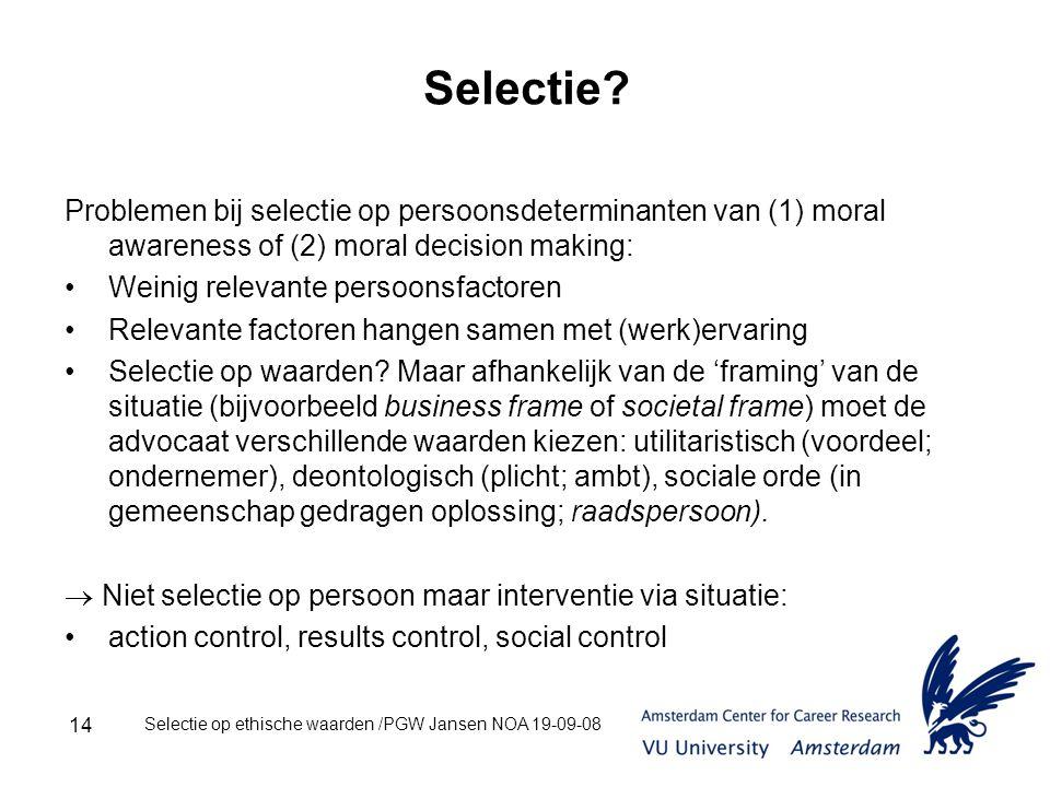 Selectie op ethische waarden /PGW Jansen NOA 19-09-08 14 Selectie.