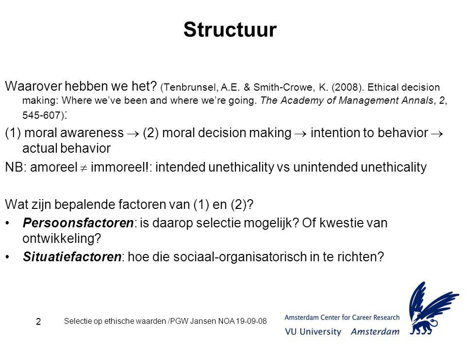 Selectie op ethische waarden /PGW Jansen NOA 19-09-08 2 Structuur Waarover hebben we het.
