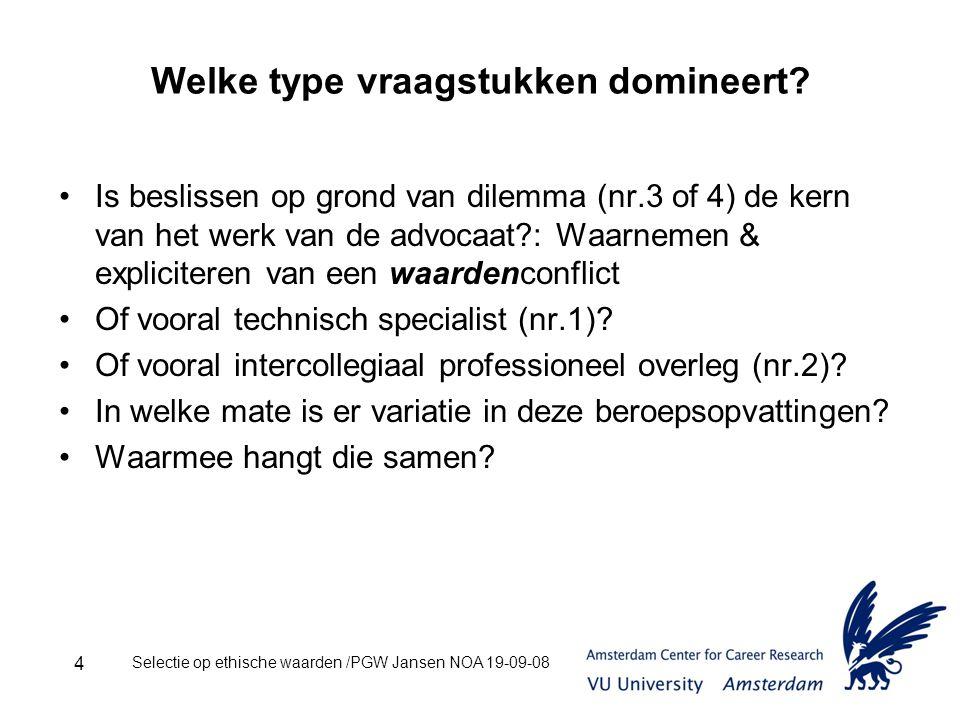 Selectie op ethische waarden /PGW Jansen NOA 19-09-08 4 Welke type vraagstukken domineert.