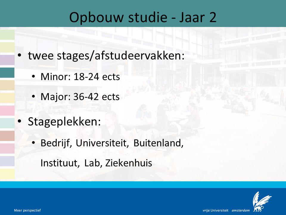 Opbouw studie - Jaar 2 twee stages/afstudeervakken: Minor: 18-24 ects Major: 36-42 ects Stageplekken: Bedrijf, Universiteit, Buitenland, Instituut, La