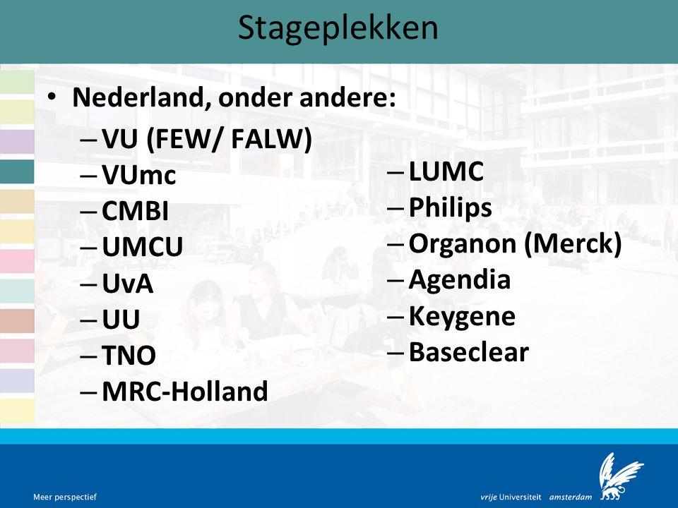 Stageplekken Nederland, onder andere: – VU (FEW/ FALW) – VUmc – CMBI – UMCU – UvA – UU – TNO – MRC-Holland – LUMC – Philips – Organon (Merck) – Agendi