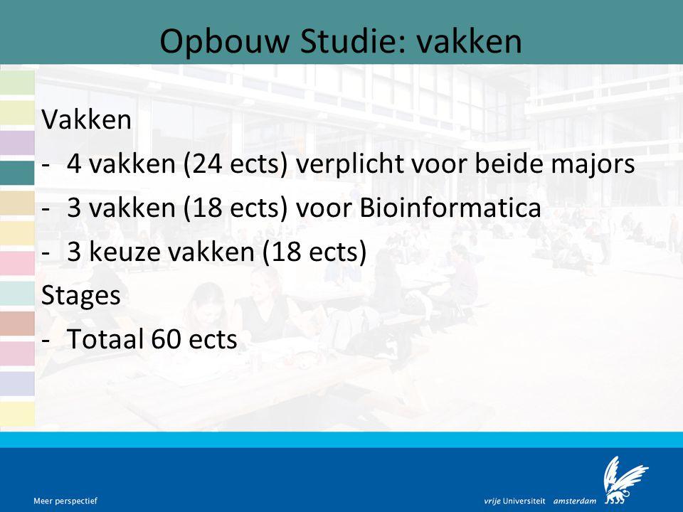 Opbouw Studie: vakken Vakken -4 vakken (24 ects) verplicht voor beide majors -3 vakken (18 ects) voor Bioinformatica -3 keuze vakken (18 ects) Stages