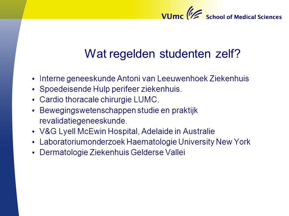 Wat regelden studenten zelf? Interne geneeskunde Antoni van Leeuwenhoek Ziekenhuis Spoedeisende Hulp perifeer ziekenhuis. Cardio thoracale chirurgie L