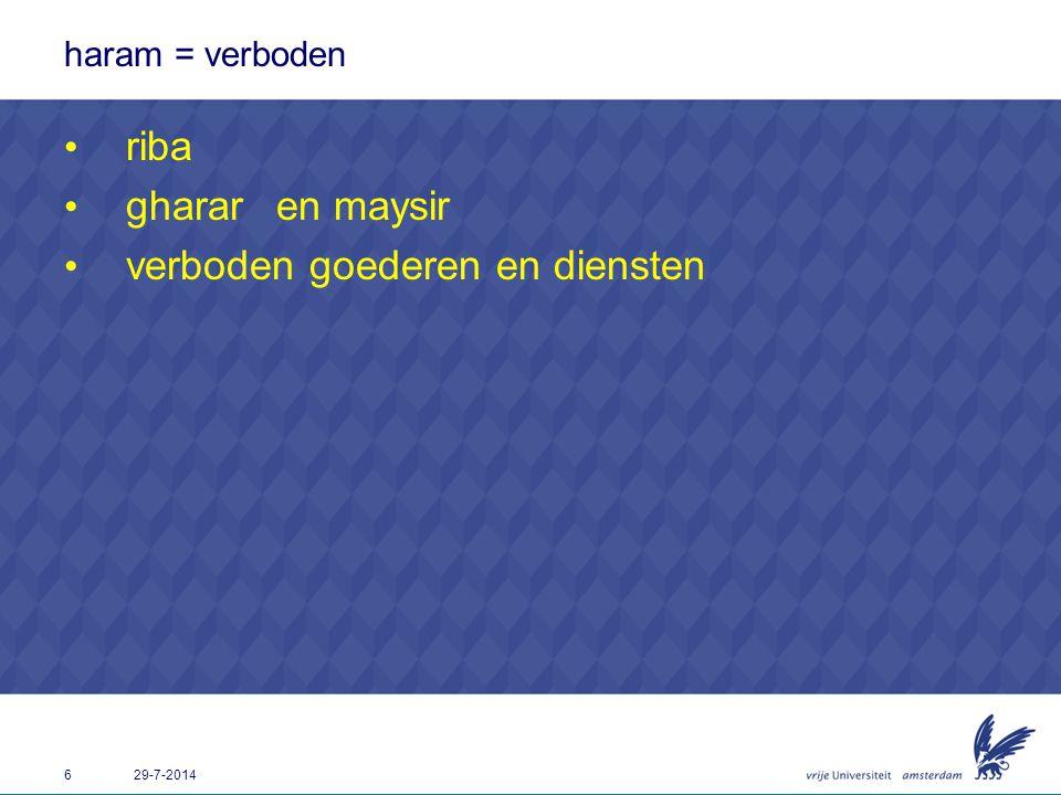 6 29-7-2014 haram = verboden riba ghararen maysir verboden goederen en diensten