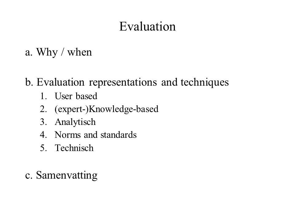 a.Waarom evalueren en testen.
