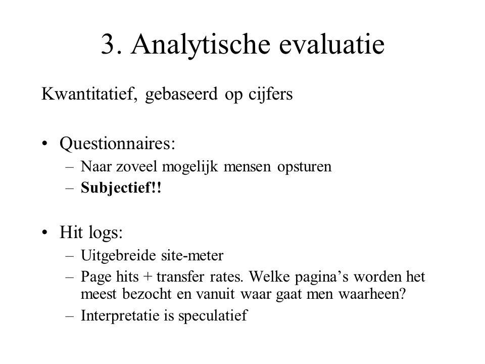 3. Analytische evaluatie Kwantitatief, gebaseerd op cijfers Questionnaires: –Naar zoveel mogelijk mensen opsturen –Subjectief!! Hit logs: –Uitgebreide
