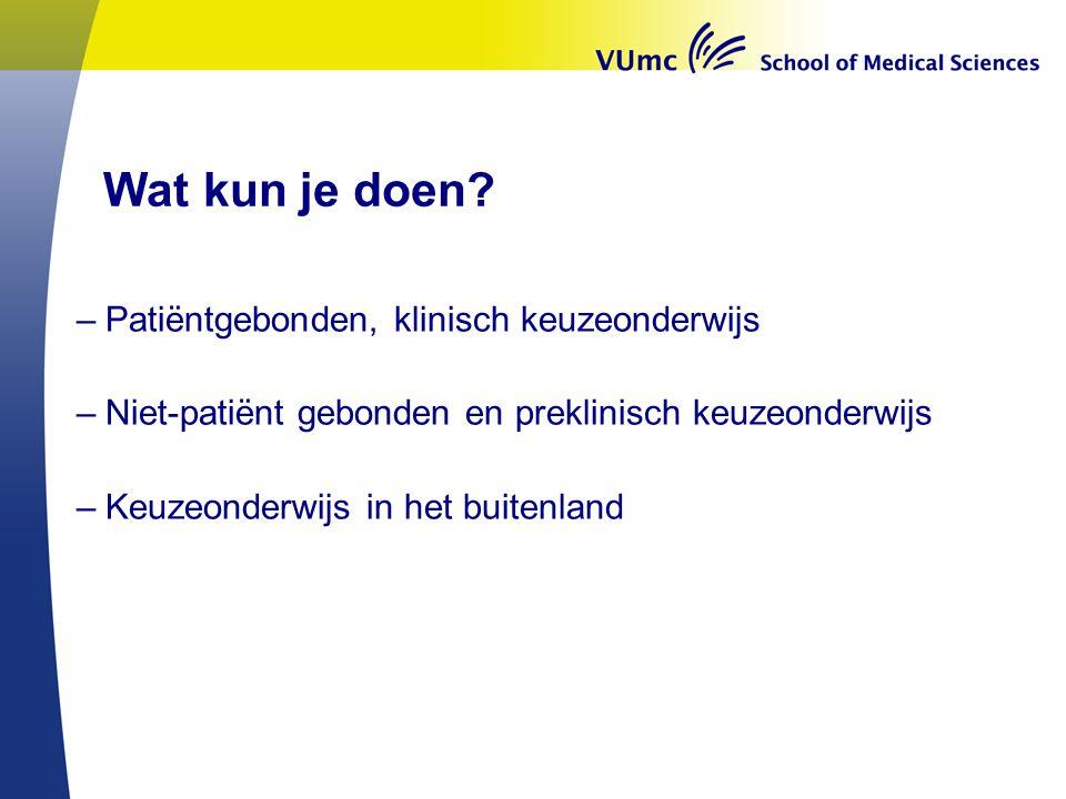 Wat kan er b.v.uit het aanbod bij VUmc en partnerziekenhuizen worden gedaan.