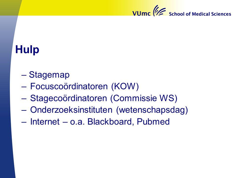Hulp – Stagemap – Focuscoördinatoren (KOW) – Stagecoördinatoren (Commissie WS) – Onderzoeksinstituten (wetenschapsdag) – Internet – o.a.