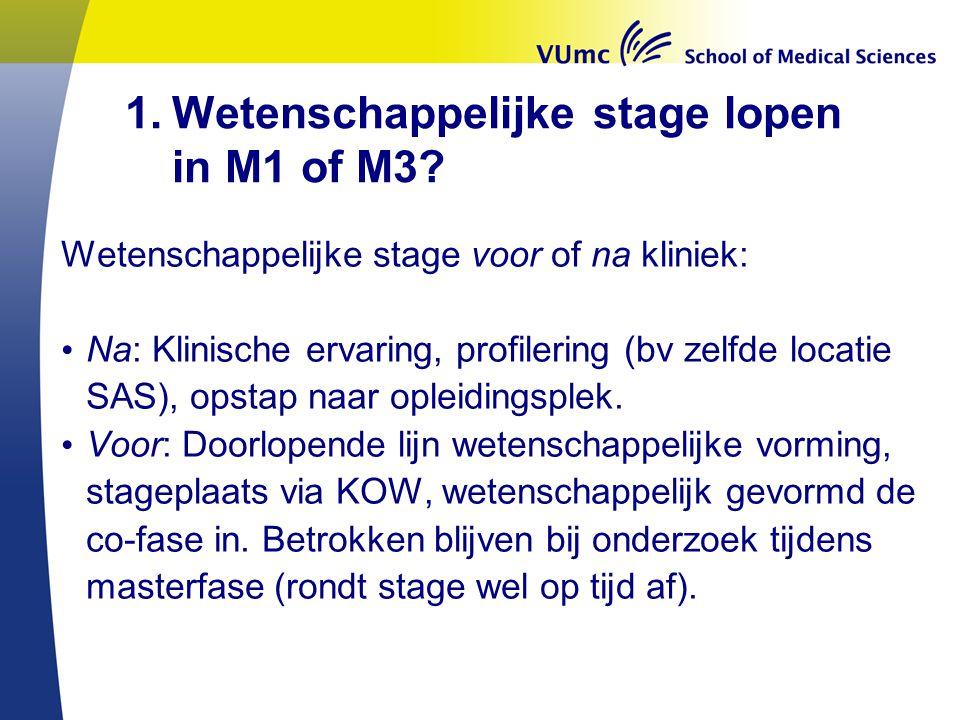 1.Wetenschappelijke stage lopen in M1 of M3? Wetenschappelijke stage voor of na kliniek: Na: Klinische ervaring, profilering (bv zelfde locatie SAS),