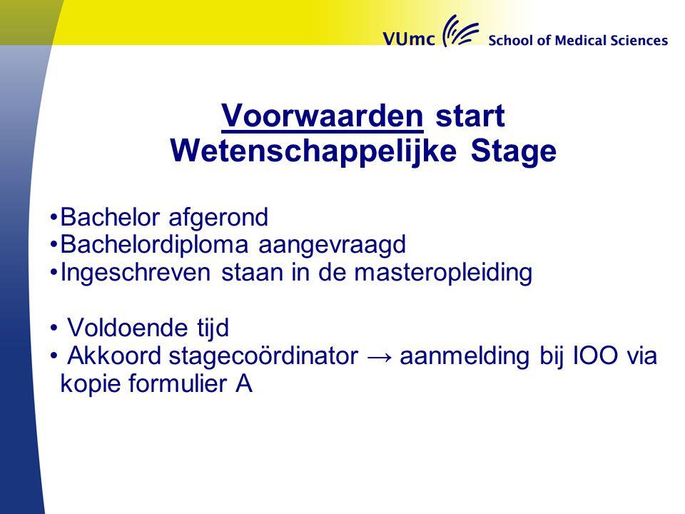Voorwaarden start Wetenschappelijke Stage Bachelor afgerond Bachelordiploma aangevraagd Ingeschreven staan in de masteropleiding Voldoende tijd Akkoor