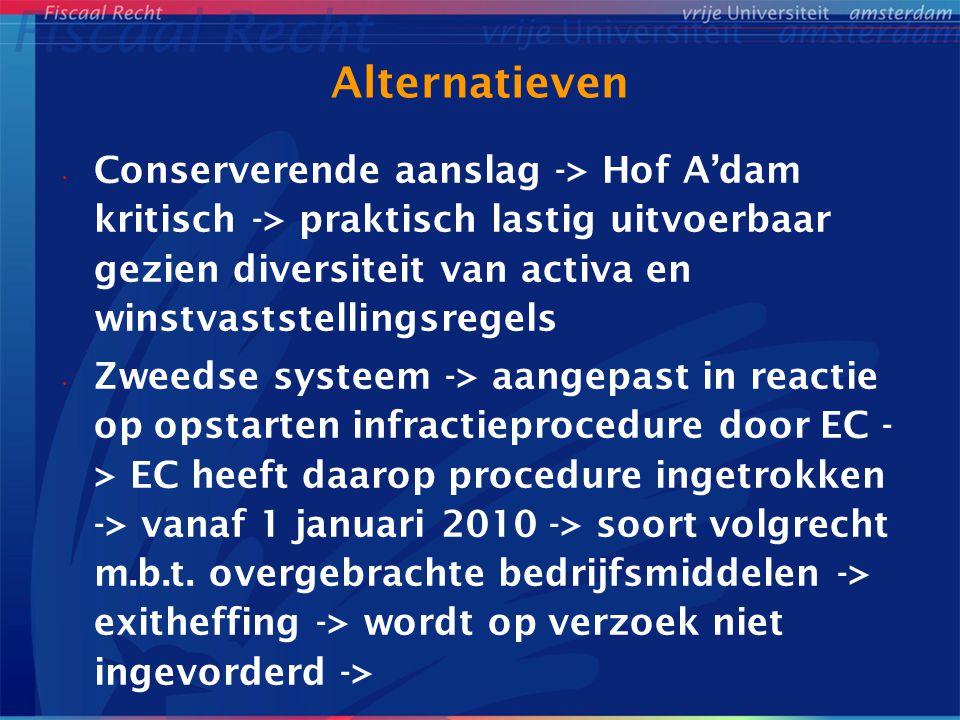 Alternatieven Conserverende aanslag -> Hof A'dam kritisch -> praktisch lastig uitvoerbaar gezien diversiteit van activa en winstvaststellingsregels Zw