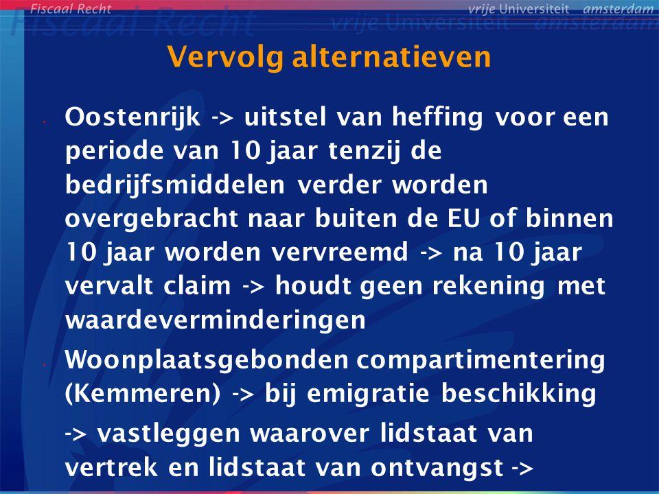 Vervolg alternatieven Oostenrijk -> uitstel van heffing voor een periode van 10 jaar tenzij de bedrijfsmiddelen verder worden overgebracht naar buiten de EU of binnen 10 jaar worden vervreemd -> na 10 jaar vervalt claim -> houdt geen rekening met waardeverminderingen Woonplaatsgebonden compartimentering (Kemmeren) -> bij emigratie beschikking -> vastleggen waarover lidstaat van vertrek en lidstaat van ontvangst ->