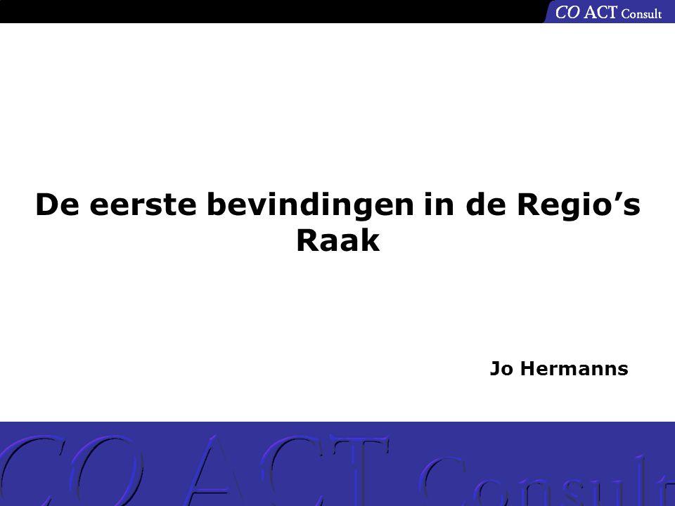 De eerste bevindingen in de Regio's Raak Jo Hermanns