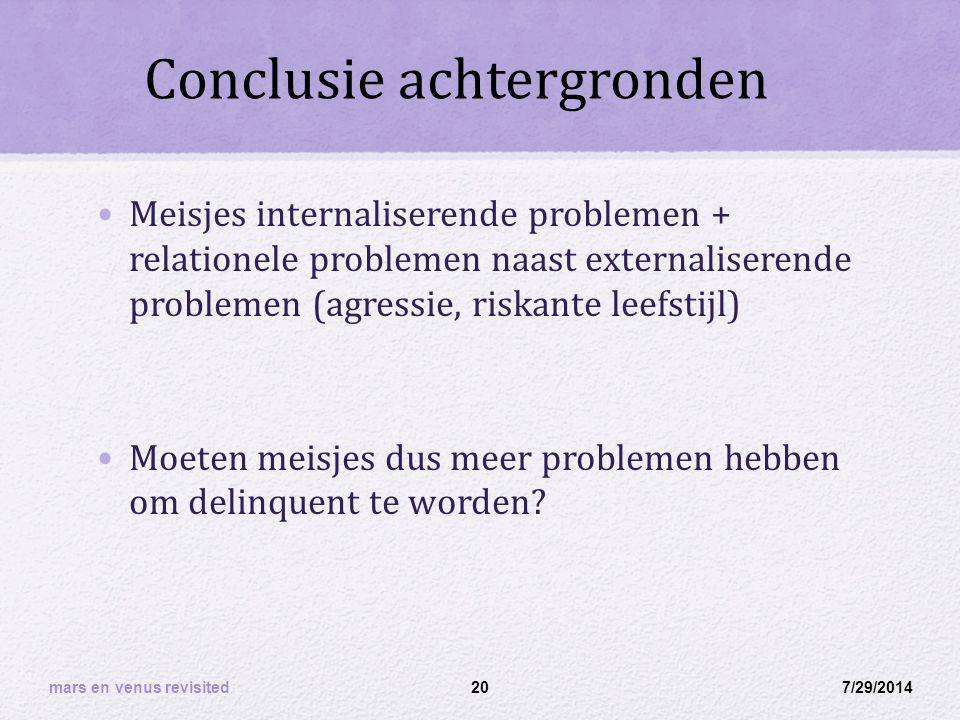 Conclusie achtergronden Meisjes internaliserende problemen + relationele problemen naast externaliserende problemen (agressie, riskante leefstijl) Moeten meisjes dus meer problemen hebben om delinquent te worden.