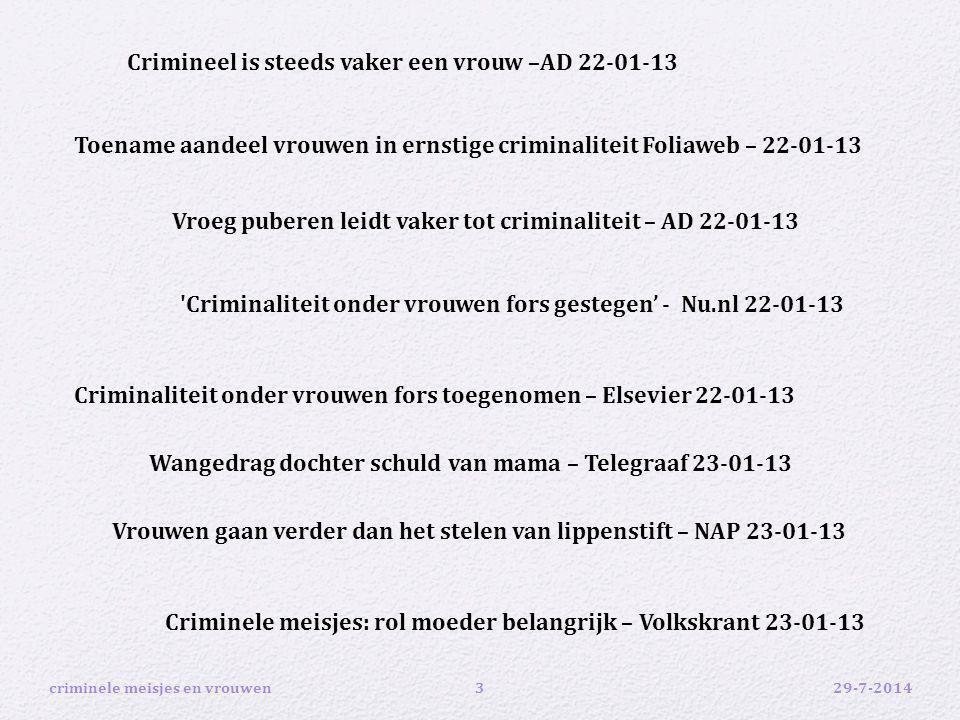 29-7-2014criminele meisjes en vrouwen3 Crimineel is steeds vaker een vrouw –AD 22-01-13 'Criminaliteit onder vrouwen fors gestegen' - Nu.nl 22-01-13 T