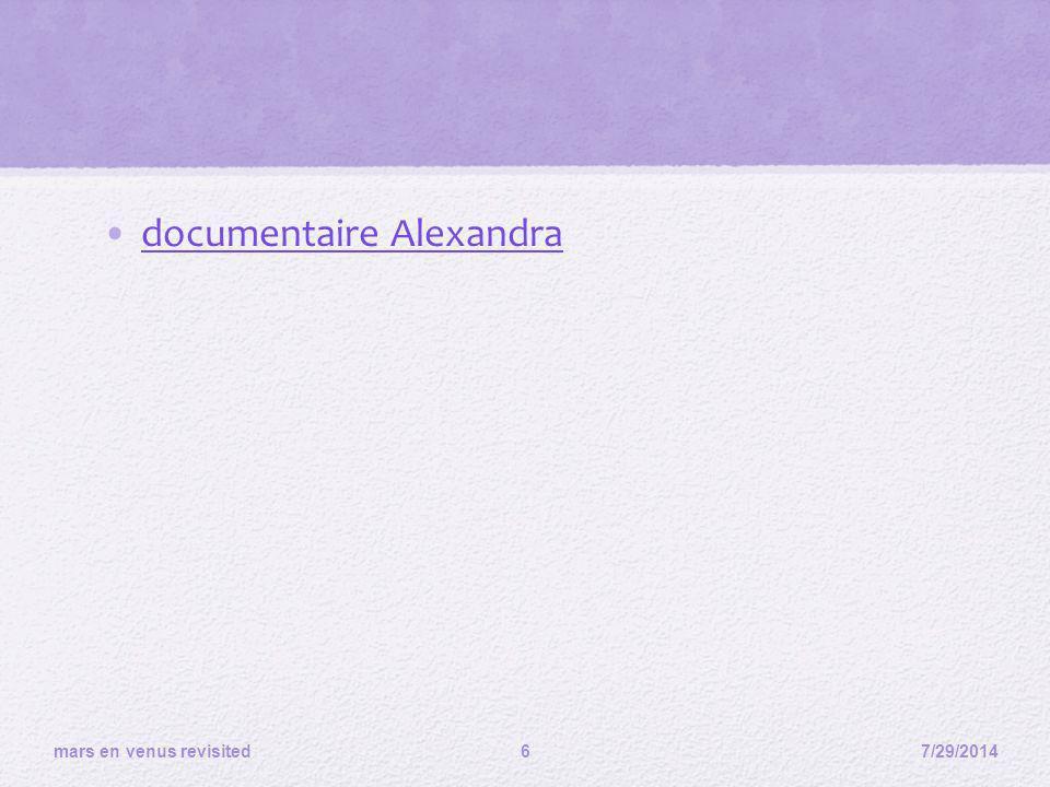 documentaire Alexandra 7/29/2014 mars en venus revisited 6