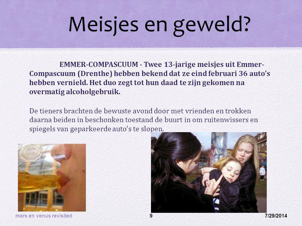 Meisjes en geweld? EMMER-COMPASCUUM - Twee 13-jarige meisjes uit Emmer- Compascuum (Drenthe) hebben bekend dat ze eind februari 36 auto's hebben verni