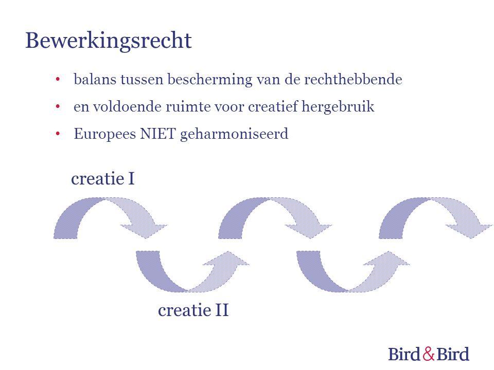 creatie I creatie II Bewerkingsrecht balans tussen bescherming van de rechthebbende en voldoende ruimte voor creatief hergebruik Europees NIET geharmo