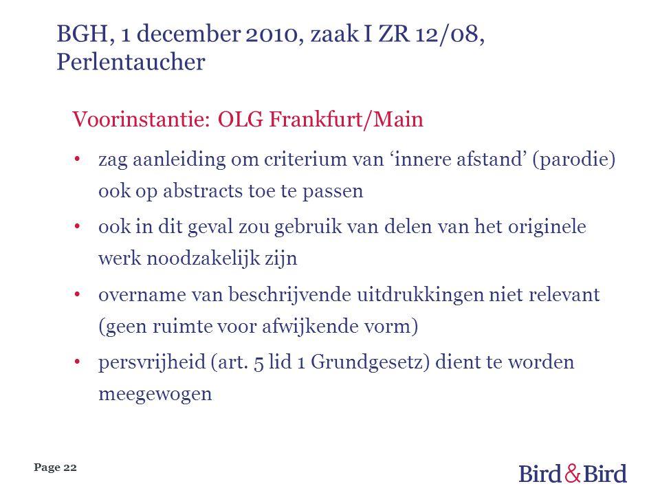 Page 22 BGH, 1 december 2010, zaak I ZR 12/08, Perlentaucher Voorinstantie: OLG Frankfurt/Main zag aanleiding om criterium van 'innere afstand' (parod